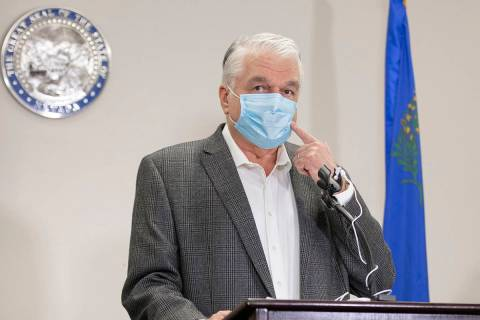 Benjamin Hager/Las Vegas Review-Journal Gov. Steve Sisolak discusses Nevada's recent COVID-19 ...