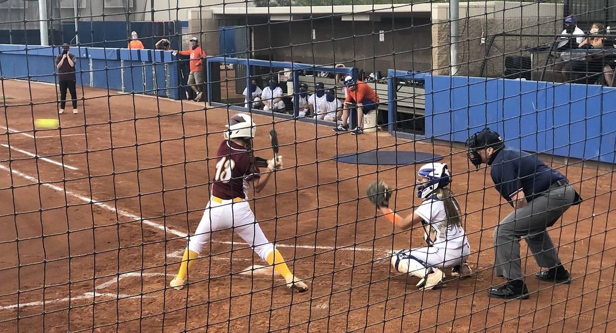 Tom Rysinski/Pahrump Valley Times Pahrump Valley's Leila Denton keeps her eye on the ball durin ...