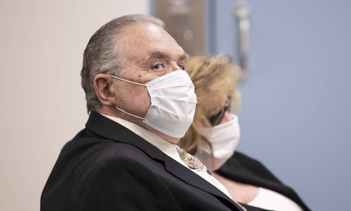 Marcel Chappuis, left, and his wife, Patricia, appear in Beatty Justice Court for a pretrial he ...
