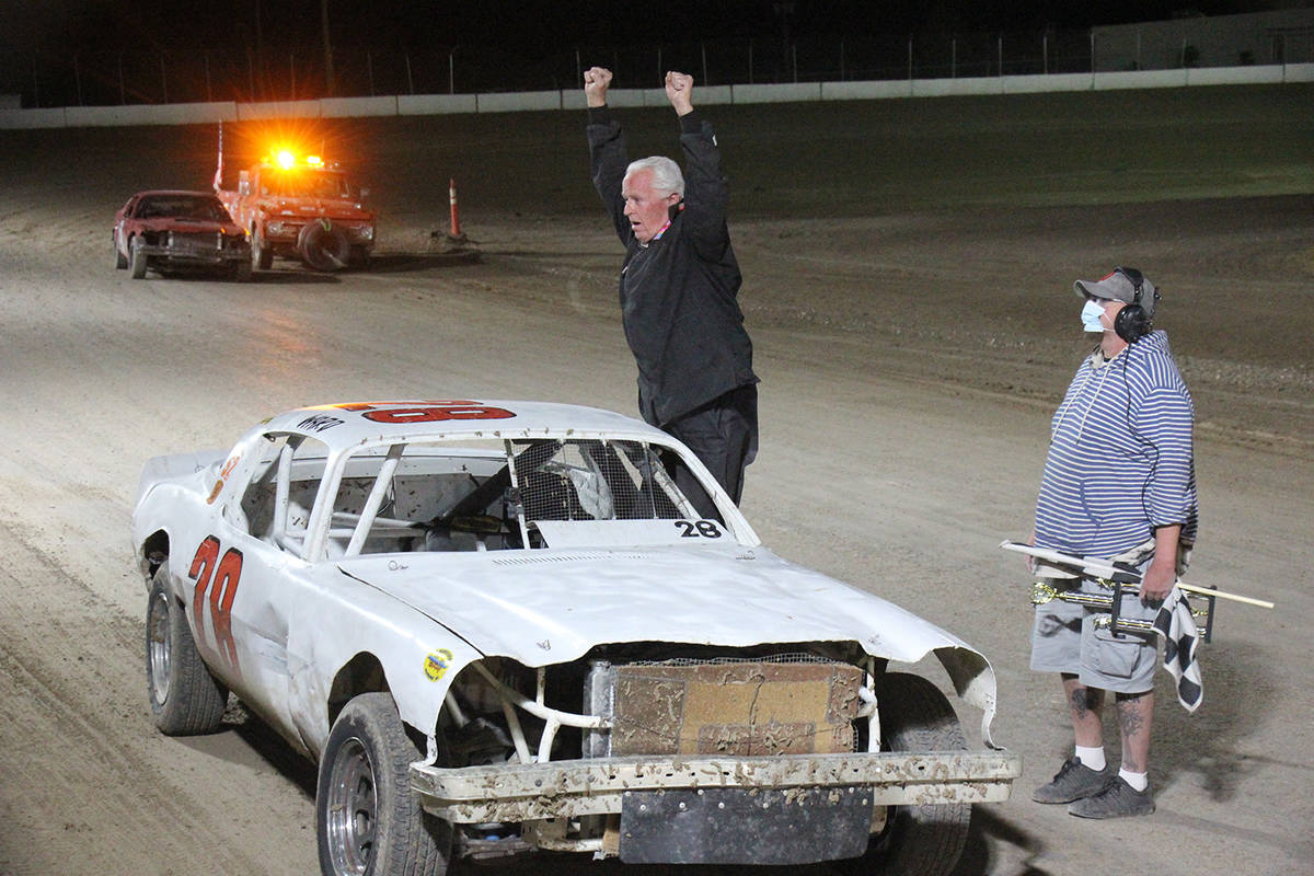 Digital Storm Photography/Special to the Pahrump Valley Times Jared Ward in Car 28 celebrates h ...