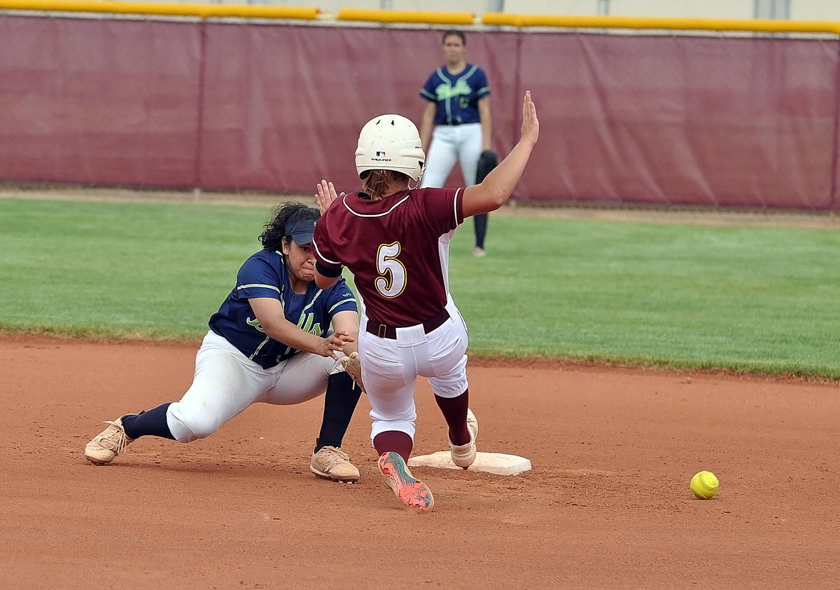 Horace Langford Jr./Pahrump Valley Times Lizzie DeAngelis of Pahrump Valley slides safely into ...
