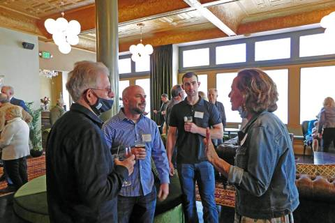 Robin Hebrock/Pahrump Valley Times Nancy Cline, at right, speaks with guests at the Belvada Hot ...