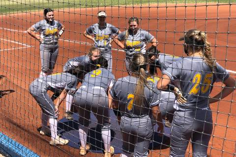 Tom Rysinski/Pahrump Valley Times The Pahrump Valley High School softball team before its game ...