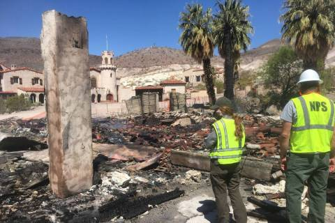This photo shows fire damage at the historic garage at Scotty's Castle in Death Valley National ...