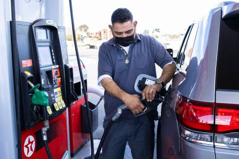 Bizuayehu Tesfaye/Las Vegas Review-Journal Gas prices have risen over 50% from the same time a ...