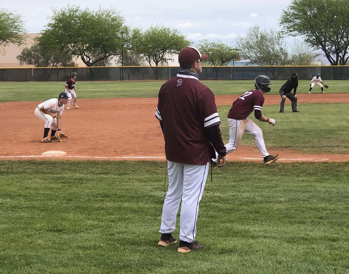 Tom Rysinski/Pahrump Valley Times Pahrump Valley High School baseball coach Brian Hayes watches ...