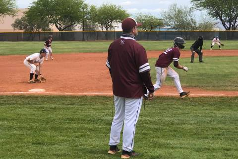Tom Rysinski/Pahrump Valley Times Pahrump Valley High School baseball coach Brian Hayes watches ...