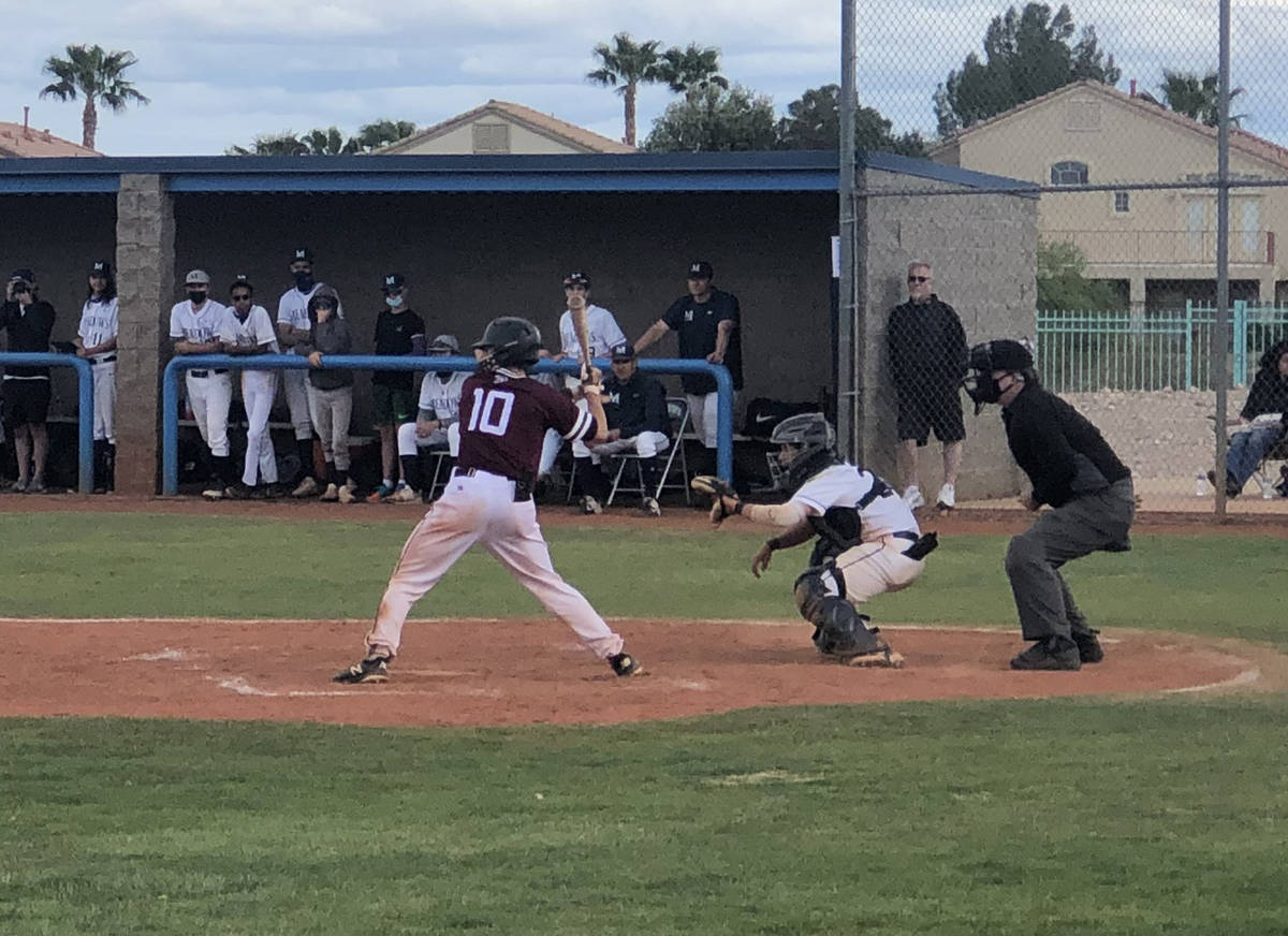 Tom Rysinski/Pahrump Valley Times Junior catcher Coby Tillery takes his turn at bat during Pahr ...