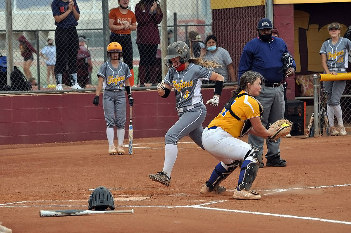 Horace Langford Jr./Pahrump Valley Times Allanah Coen scores the second of three runs during th ...