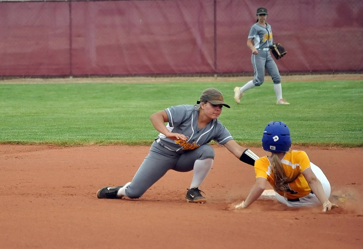 Horace Langford Jr./Pahrump Valley Times Pahrump Valley senior Ally Rily makes the tag on Moapa ...