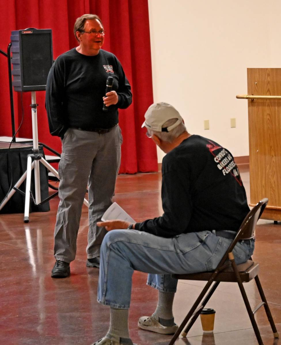 Richard Stephens/Special to the Pahrump Valley Times Beatty residents listen to a presentation ...