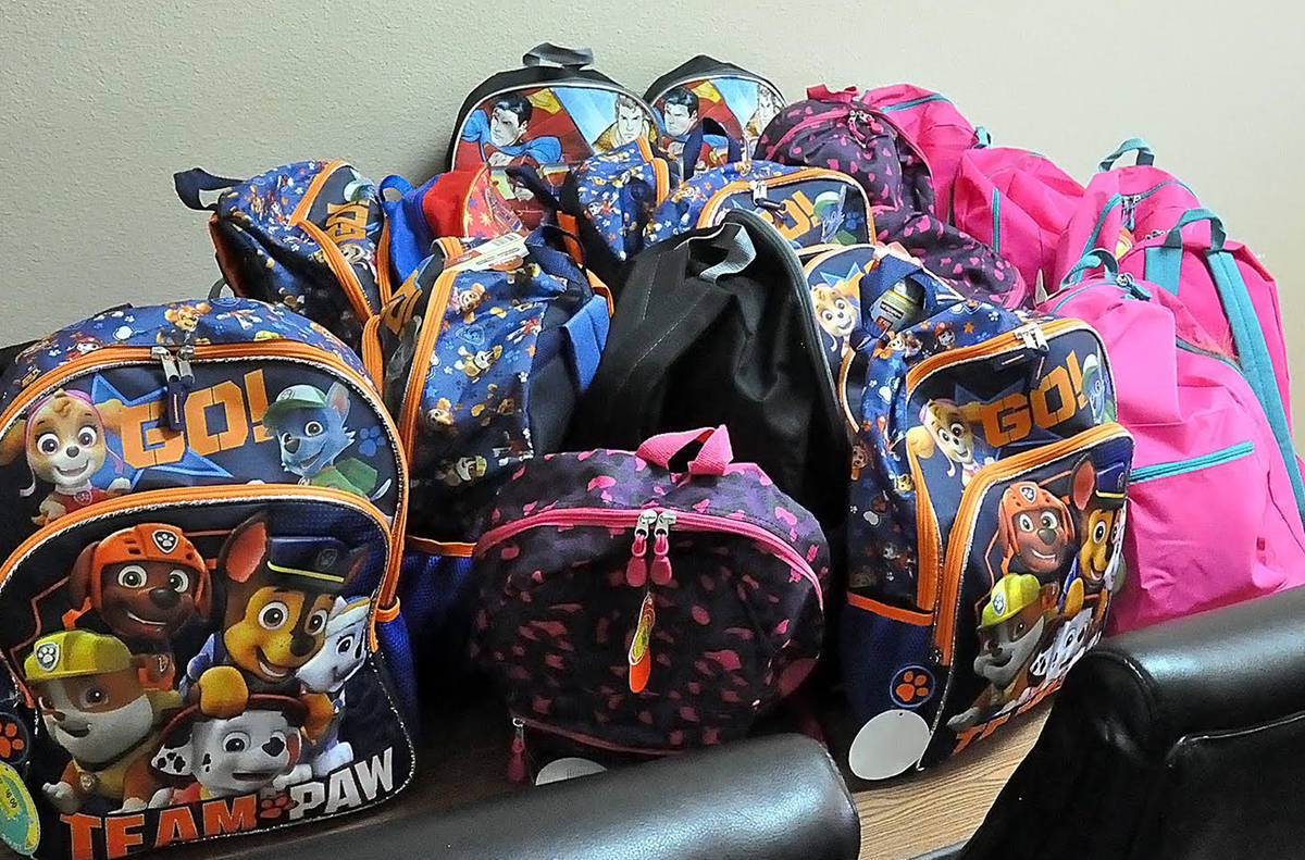 Horace Langford Jr./Pahrump Valley Times The backpacks donated by the Lions Club came with a st ...