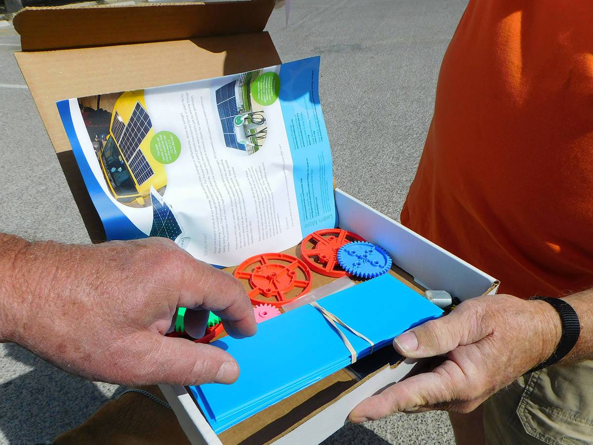 Robin Hebrock/Pahrump Valley Times A solar powered car kit was one of the fun items that the lo ...
