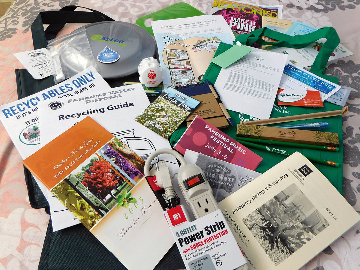 Robin Hebrock/Pahrump Valley Times The goodie bags handed out at the Earth and Arbor Day event ...