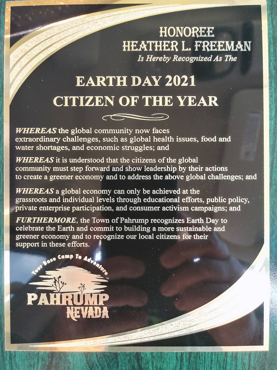 Special to the Pahrump Valley Times This year's Environmental Citizen of the Year award went to ...