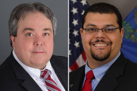 Nye County District Attorney Chris Arabia, left, and Commissioner Leo Blundo (Special to the La ...