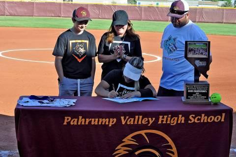 Horace Langford Jr./Pahrump Valley Times Pahrump Valley High School senior Ally Rily is surroun ...