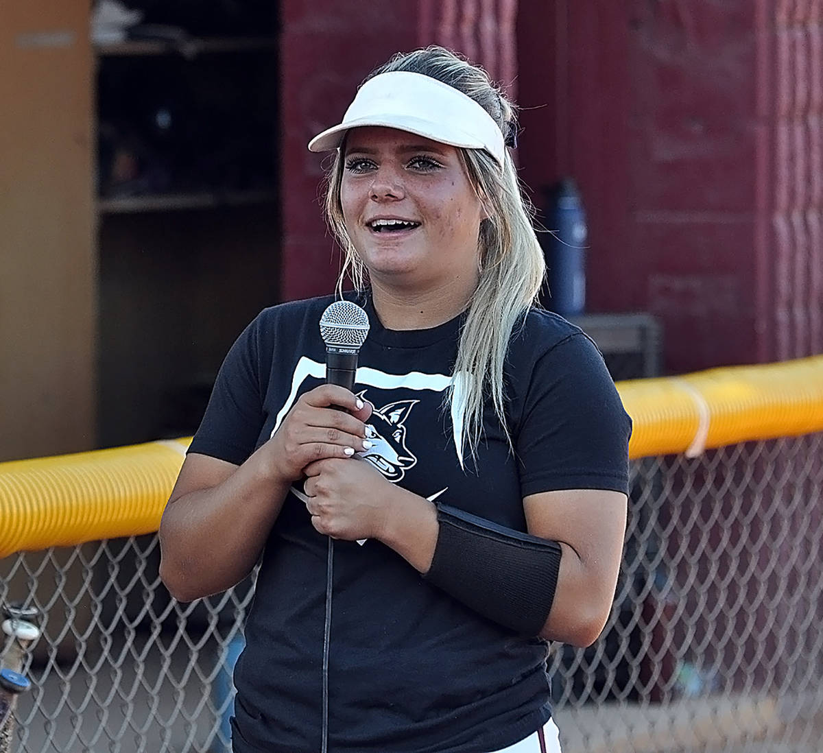 Horace Langford Jr./Pahrump Valley Times Ally Rily speaks to teammates and fans after signing h ...