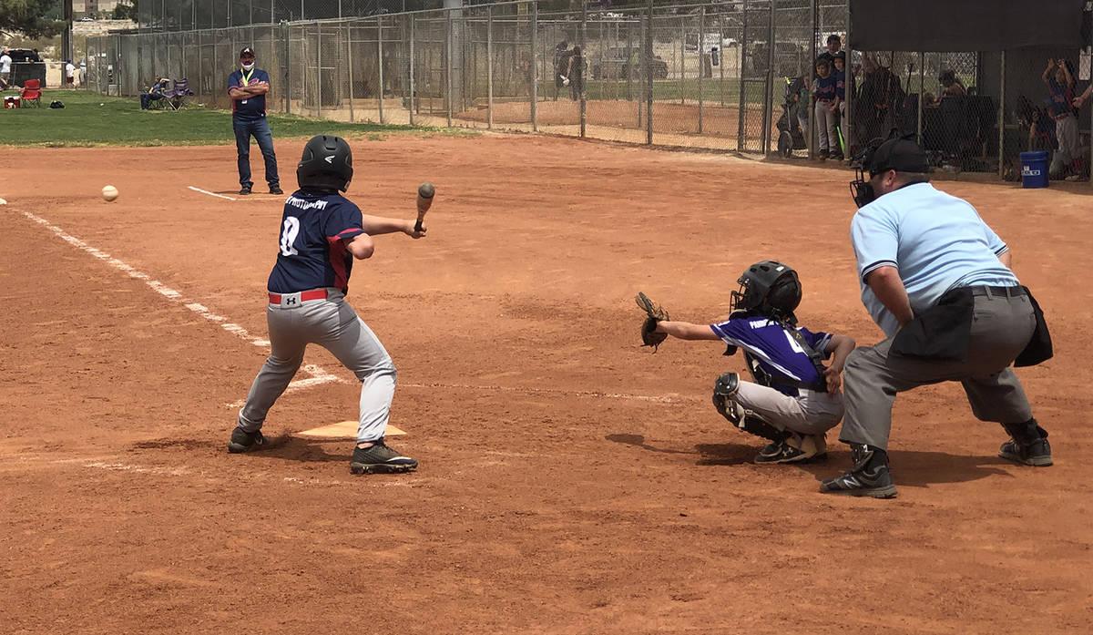 Tom Rysinski/Pahrump Valley Times Austin Abelar prepares to take a swing during a Little League ...