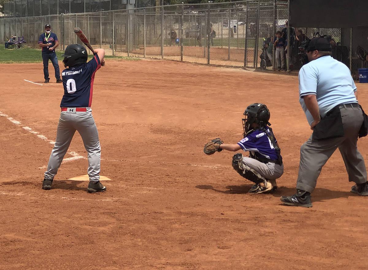Tom Rysinski/Pahrump Valley Times Austin Abelar shows how he cradles his bat while waiting for ...