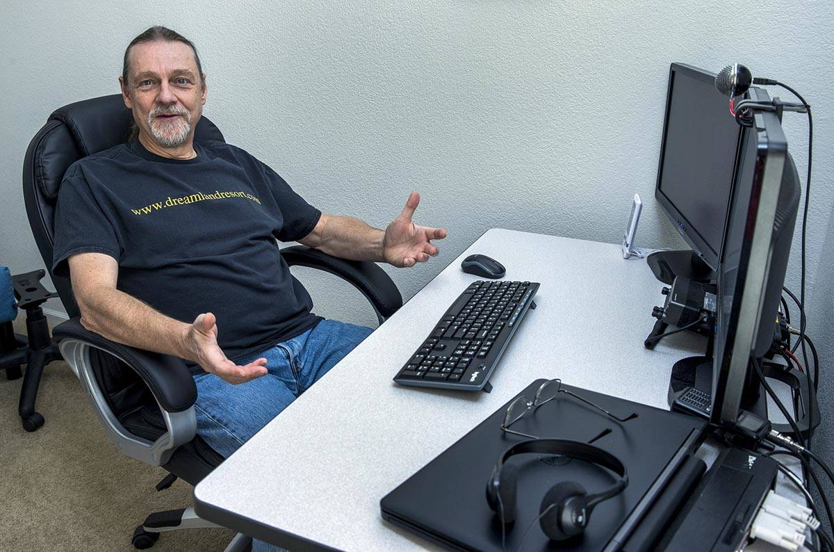 Rachel webmaster Joerg Arnu at his home work station where he creates websites including the on ...