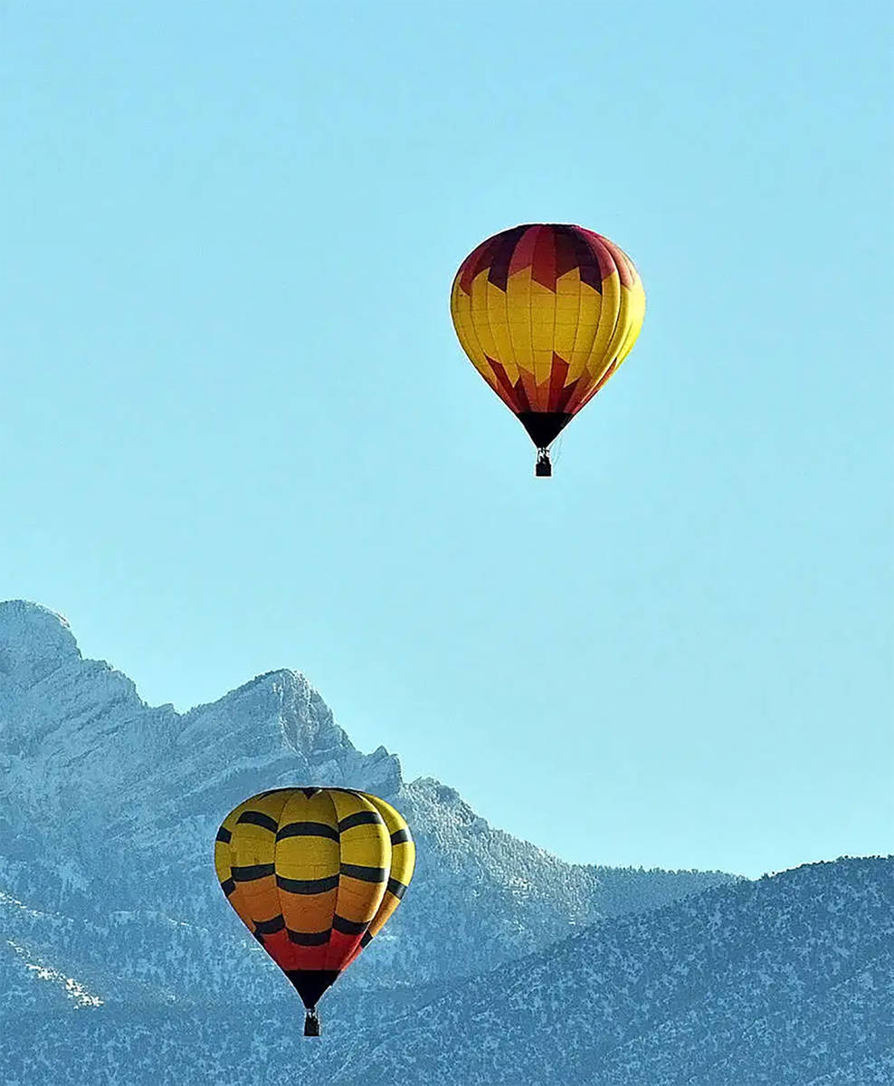 Selwyn Harris/Pahrump Valley Times Numerous balloons floated serenely over the Pahrump Valley f ...