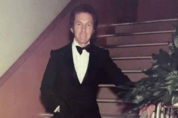 Bobby Morris wears the tuxedo Kirk Kerkorian bought him in 1969. (Courtesy)