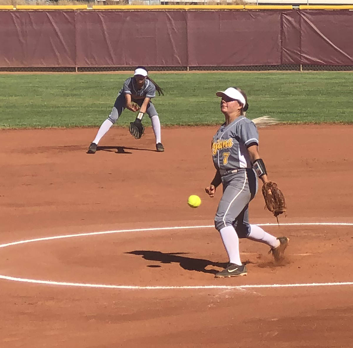 Tom Rysinski/Pahrump Valley Times Senior Ally Rily tossed a 3-inning perfect game with 7 strike ...