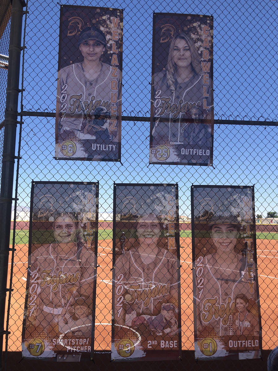 Tom Rysinski/Pahrump Valley Times Banners honoring the Pahrump Valley High School softball team ...