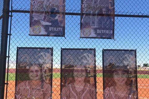 Tom Rysinski/Pahrump Valley Times Banners honoring the Pahrump Valley High School softball team ...