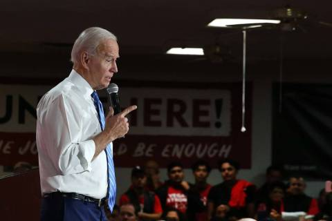 Bizuayehu Tesfaye/Las Vegas Review-Journal President Joe Biden speaks during a town hall event ...