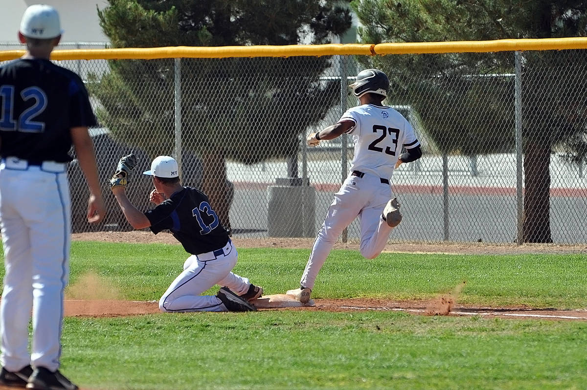 Horace Langford Jr./Pahrump Valley Times Sophomore Fidel Betancourt almost beats out an infield ...