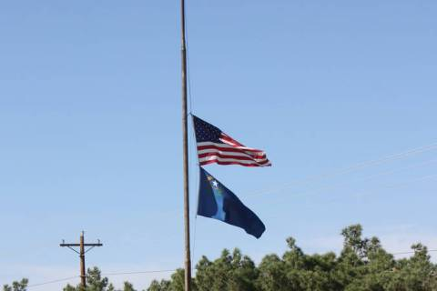 Robin Hebrock/Pahrump Valley Times Flag pictured being flown at half-staff at Ian Deutch Memori ...