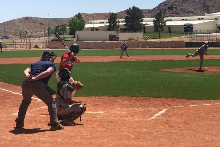 Tom Rysinski/Pahrump Valley Times Beatty High School senior Brayden Lynn pitches during the fir ...