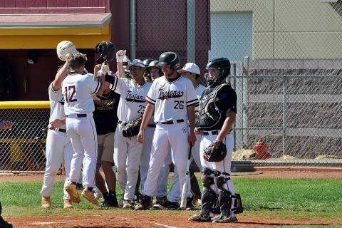 Horace Langford Jr./Pahrump Valley Times Pahrump Valley High School baseball players greet Kyle ...