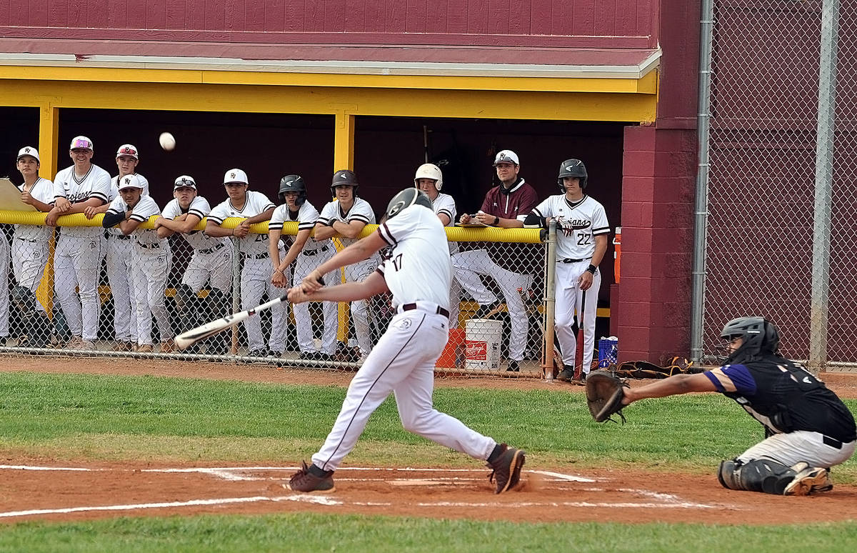 Horace Langford Jr./Pahrump Valley Times Jake Riding connects for a single against Sunrise Moun ...