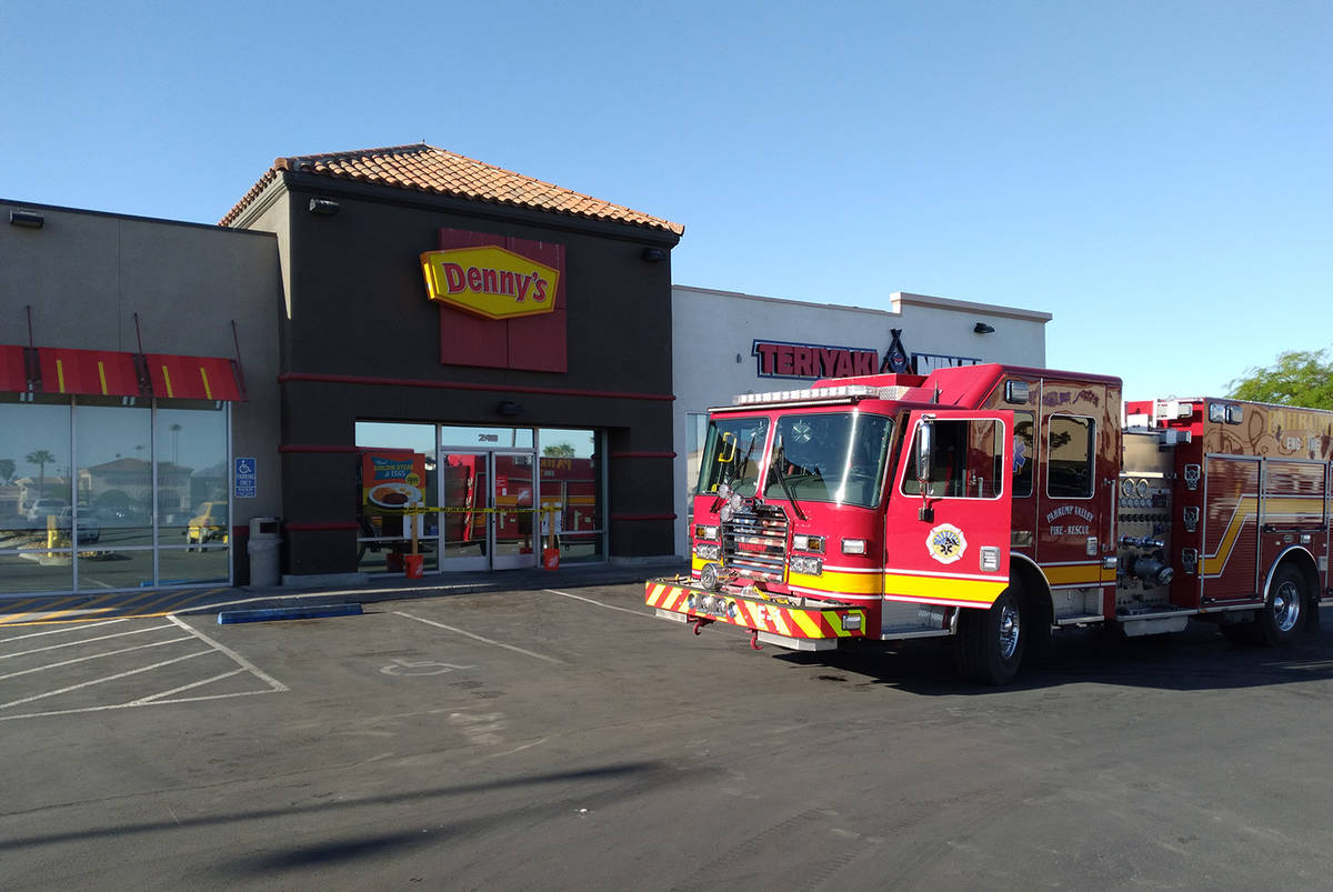Selwyn Harris/Pahrump Valley Times An early morning fire forced the closure of the Pahrump Denn ...