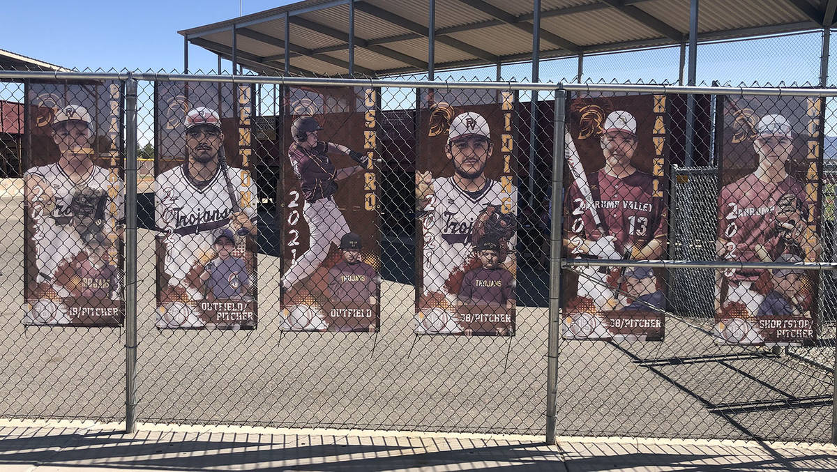 Tom Rysinski/Pahrump Valley Times Banners honoring Pahrump Valley High School baseball seniors ...