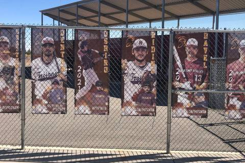 Tom Rysinski/Pahrump Valley Times Banners honoring Pahrump Valley High School baseball seniors ...