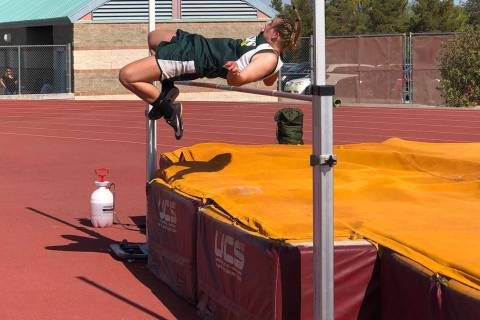 Tom Rysinski/Pahrump Valley Times Beatty sophomore Montana King clears 4 feet, 7 inches, a pers ...