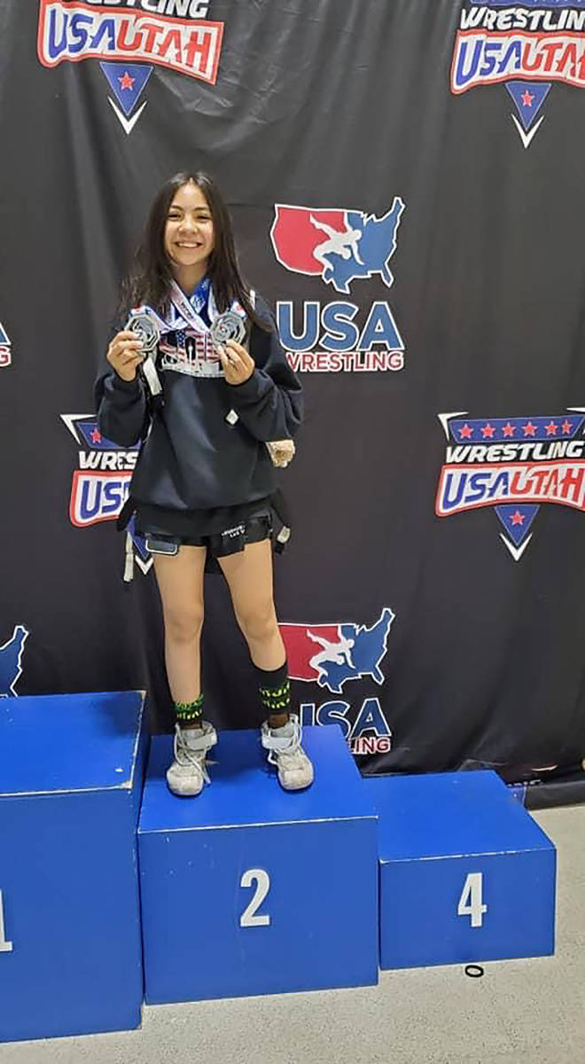 Special to the Pahrump Valley Times Mika Yoffee shows off her silver medals in freestyle and Gr ...