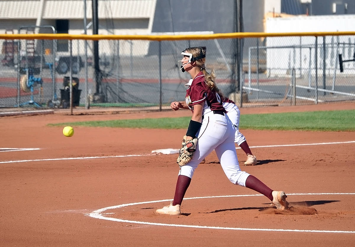 Horace Langford Jr./Pahrump Valley Times Senior pitcher Ciara Stragand allowed 3 hits without a ...
