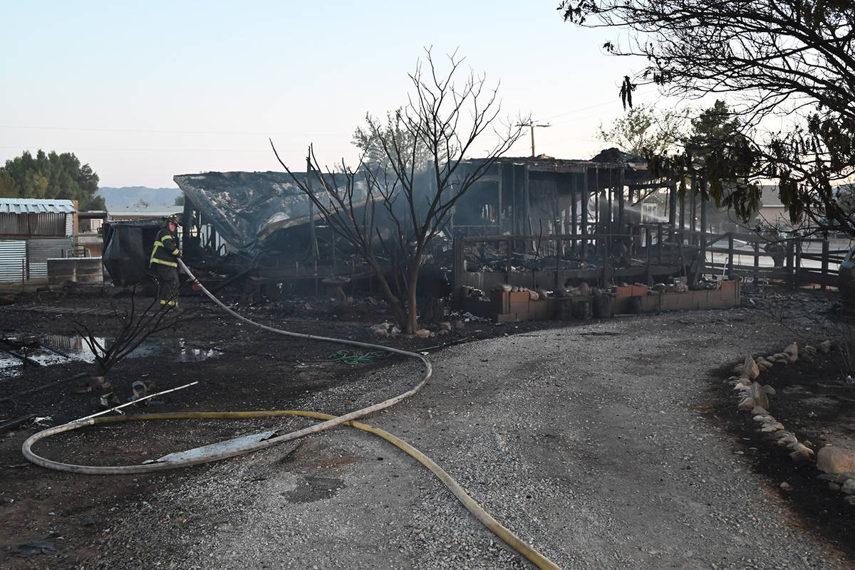 Special to the Pahrump Valley Times Pahrump fire crews responded to a structure fire that destr ...