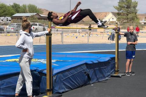 Tom Rysinski/Pahrump Valley Times Pahrump Valley sophomore Daniel Edghill cleared a personal-be ...
