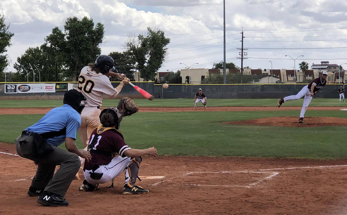 Tom Rysinski/Pahrump Valley Times Pahrump Valley pitcher Jake Riding delivers to Boulder City s ...