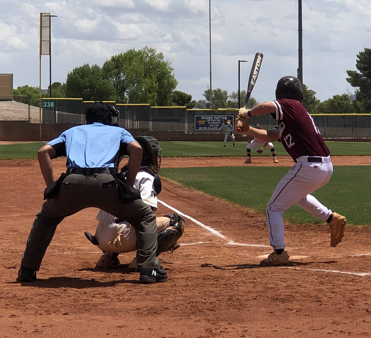 Tom Rysinski/Pahrump Valley Times Sophomore Kyle McDaniel steps up to the plate during the firs ...