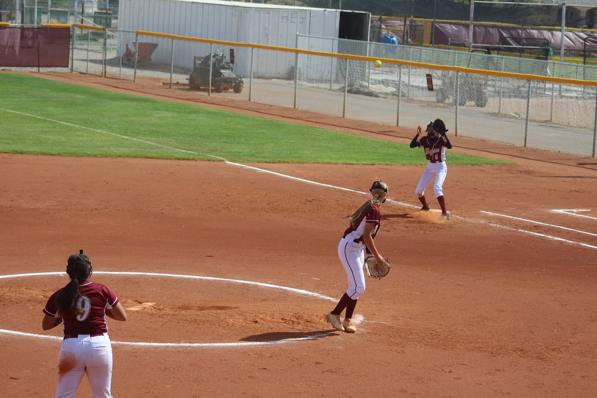 Cassondra Lauver/Special to the Pahrump Valley Times Third baseman Haven Nelson (9) watches her ...