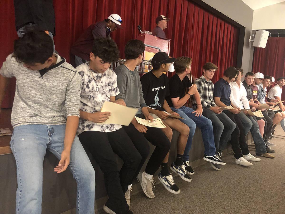 Tom Rysinski/Pahrump Valley Times Pahrump Valley High School baseball players received their va ...