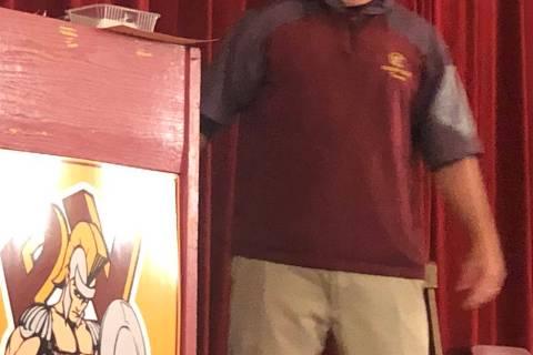 Tom Rysinski/Pahrump Valley Times Pahrump Valley High School baseball coach Brian Hayes announc ...
