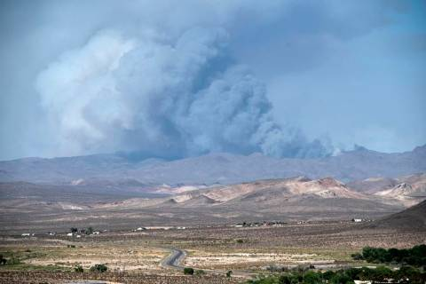 Richard Stephens/Special to the Pahrump Valley Times Smoke from a wildfire on the Nevada Natio ...